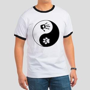 Dog Paw Print & Handprint Yin Yang T-Shirt