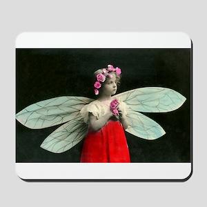 Vintage Little Girl Fairy Wings Mousepad