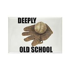 Deeply Old School Baseball Rectangle Magnet