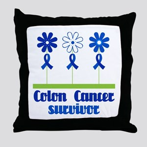 Colon Cancer Survivor (flowered) Throw Pillow