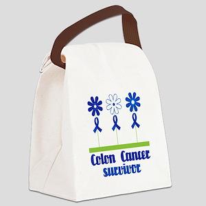 Colon Cancer Survivor (flowered) Canvas Lunch Bag