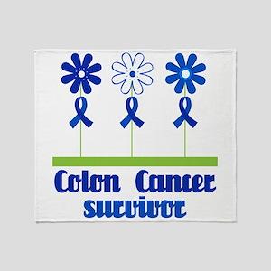 Colon Cancer Survivor (flowered) Throw Blanket