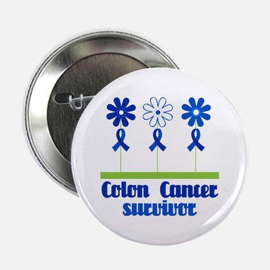 "Colon Cancer Survivor (flowered) 2.25"" Button"