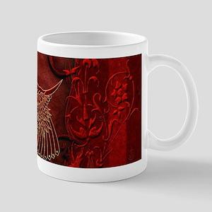 Bird in red colors, decorative design Mugs