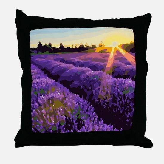 Lavender Fields Sunset Floral Landscape Throw Pill