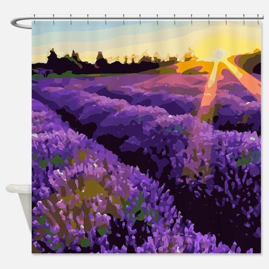 Lavender Fields Sunset Floral Landscape Shower Cur