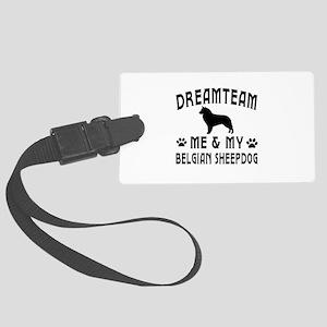 Belgian Sheepdog Dog Designs Large Luggage Tag