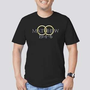 Matthew 19:4-6 Men's Fitted T-Shirt (dark)