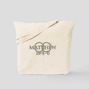 Matthew 19:4-6 Tote Bag