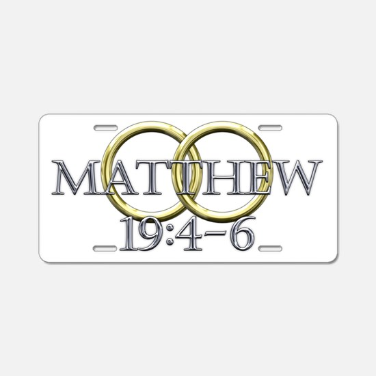 Matthew 19:4-6 Aluminum License Plate