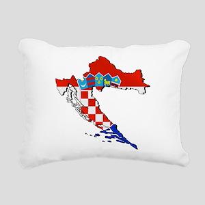 Flag Map of Croatia Rectangular Canvas Pillow