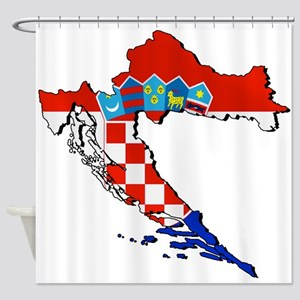 Flag Map of Croatia Shower Curtain