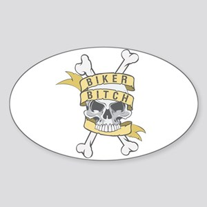 Cross Bones Biker Bitch Oval Sticker