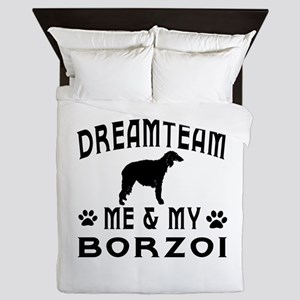 Borzoi Dog Designs Queen Duvet