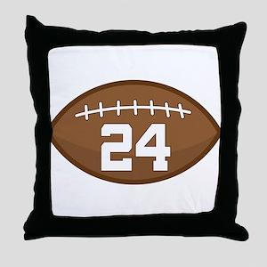 Football Player Number 24 Throw Pillow
