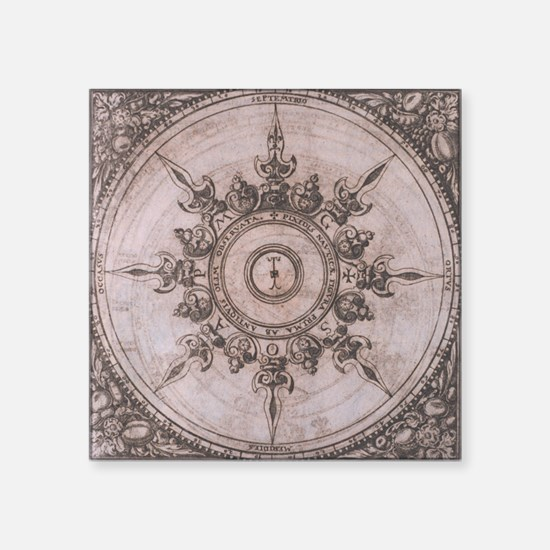 Antique Wind Rose Compass Design Sticker