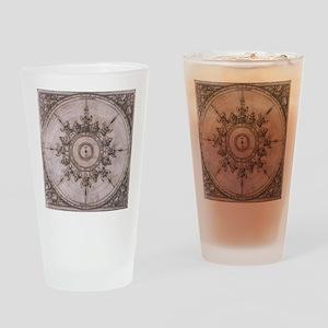 Antique Wind Rose Compass Design Drinking Glass
