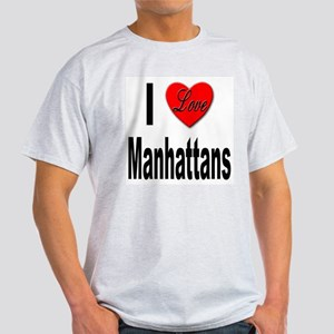 I Love Manhattans (Front) Ash Grey T-Shirt
