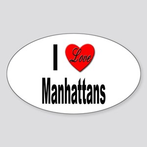 I Love Manhattans Oval Sticker