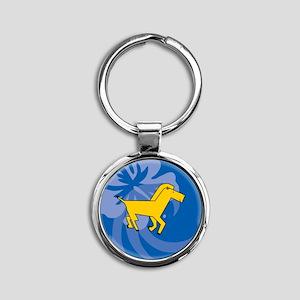 Horse Round Keychain