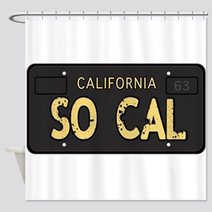 Old socal license plate design Shower Curtain