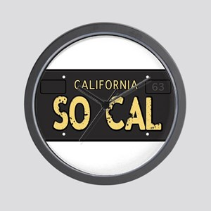 Old socal license plate design Wall Clock