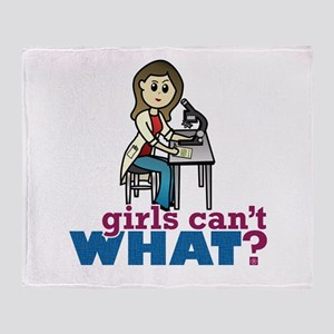 Girl Scientist Throw Blanket