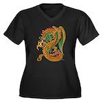 Golden Dragon Women's Plus Size V-Neck Dark T-Shir