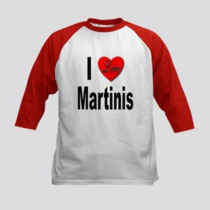 I Love Martinis (Front) Kids Baseball Jersey