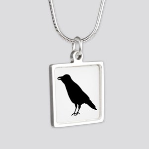 Crow Raven Silver Square Necklace