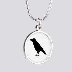 Crow Raven Silver Round Necklace