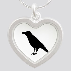 Crow Raven Silver Heart Necklace