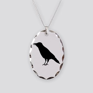 Crow Raven Necklace Oval Charm