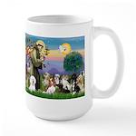 StFrancis-10 dogs Large Mug