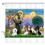 StFrancis-10 dogs Shower Curtain