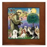 StFrancis-10 dogs Framed Tile