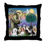 StFrancis-10 dogs Throw Pillow