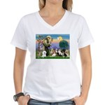 StFrancis-10 dogs Women's V-Neck T-Shirt