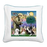 StFrancis-10 dogs Square Canvas Pillow