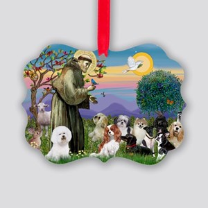 StFrancis-10 dogs Picture Ornament