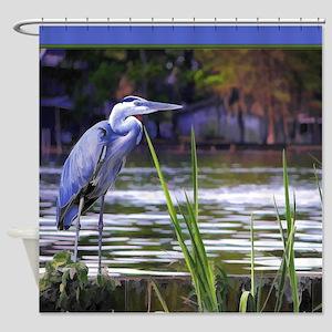 Blue Heron Sketch Shower Curtain