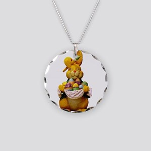 Easter Bunny Necklace Circle Charm