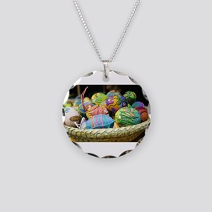 Easter Basket Necklace Circle Charm