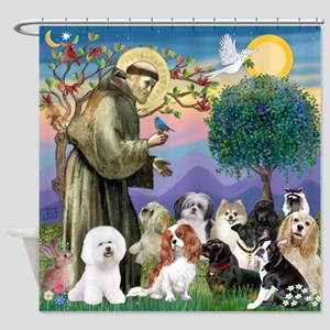 St Francis-10dogs Shower Curtain