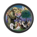St Francis-10dogs Large Wall Clock