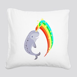 Magical Narwhal Square Canvas Pillow