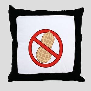 No Peanuts Warning Throw Pillow
