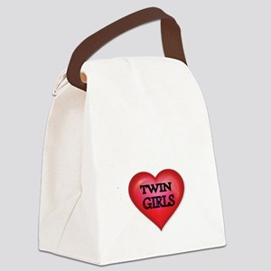 Heart-Twin Girls Canvas Lunch Bag