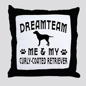 Curly-Coated Retriever Dog Designs Throw Pillow