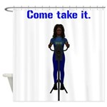 Molon Labe (Gatling, Female) Shower Curtain